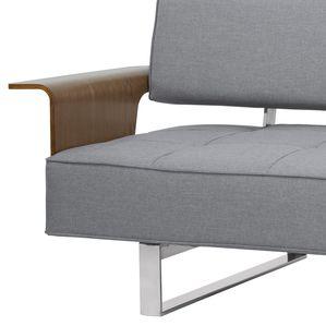 Armen Living Taft Mid-Century Convertible Futon in Gray Tufted Fabric and Walnut Wood
