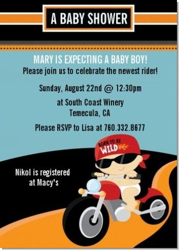 Motorcycle Baby   Baby Shower Invitations