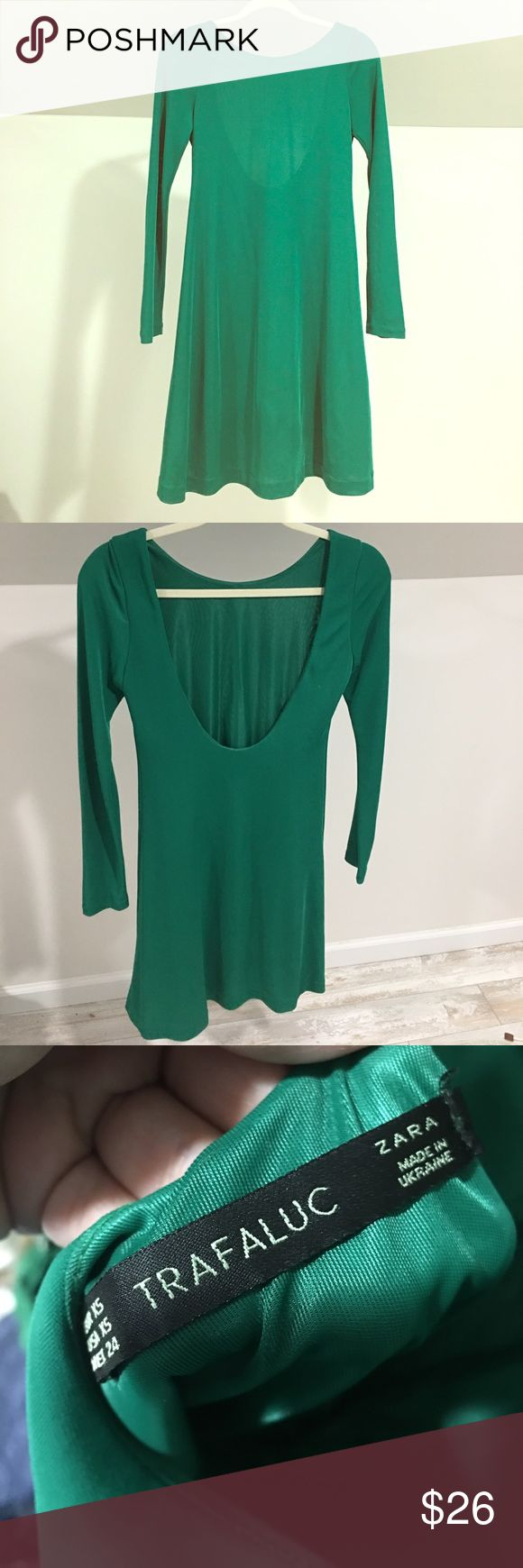 Zara Open back Green dress Beautiful green dress from Zara!  Open back with long sleeves. Simple and beautiful.  Sophisticated and classy.  Love this dress! No holds and no trades. Zara Dresses Midi