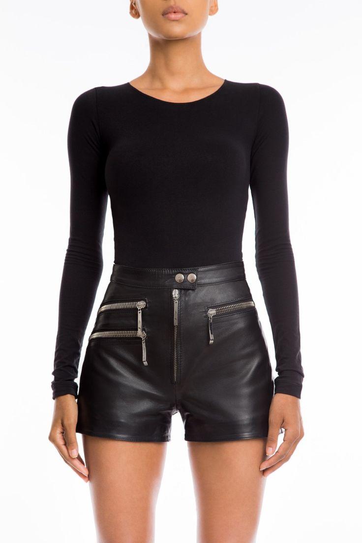 #Manokhi black leather shorts available now also in white on www.manokhi.com