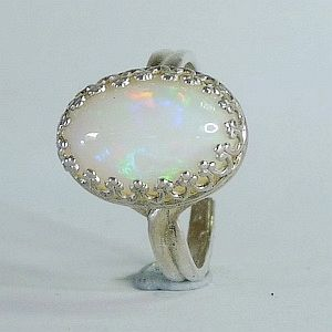 3.60CTs.Genuine Multicolor Natural Opal in Solid 925 Sterling Silver Multisize Ring   RI245