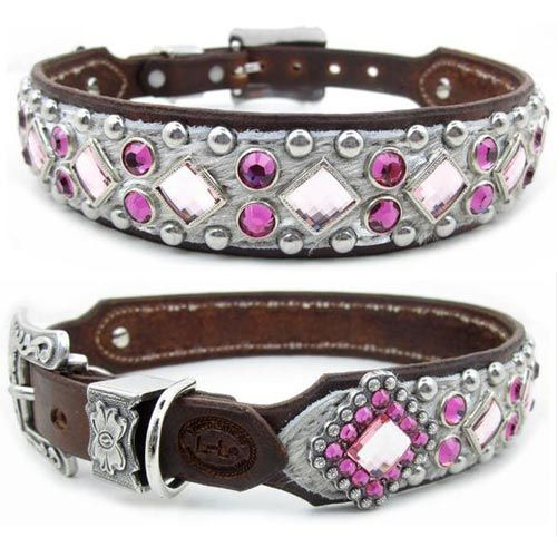 fancy dog collars | Pink Designer Dog Collars with Coins