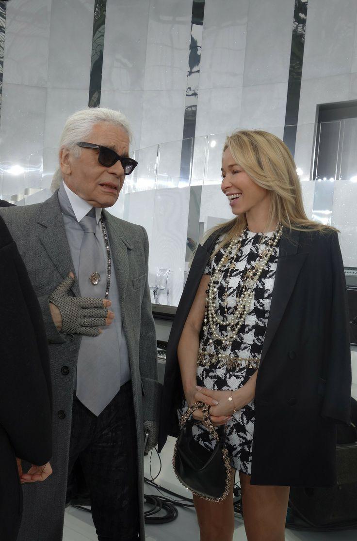 Joanna Przetakiewicz with Karl Lagerfeld