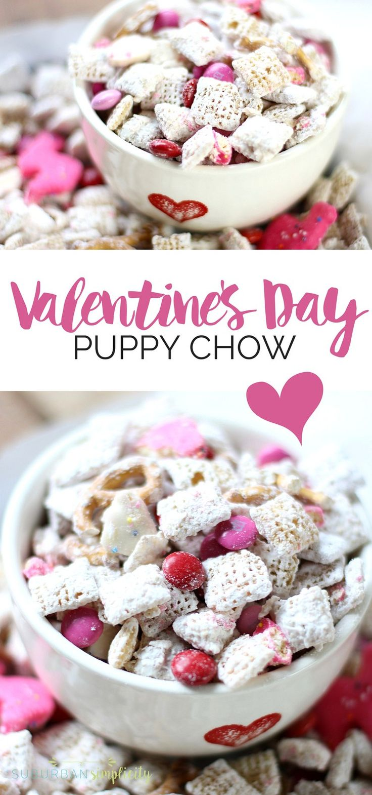This Valentine's Day Puppy Chow recipe is the perfect treat for the holiday.  An amazing combination of salty and sweet that's kinda addictive!  With a few simple ingredients you can munch on this delicious dessert in minutes. #valentinesday #muddybuddies