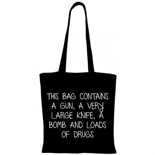 """Un cadou cool pentru un prieten sau pentru un dusman. Este cadoul cel mai (putin) nimerit daca acel cineva o va folosi ca sacosa de calatorie intr-un aeroport si cea mai indrazneata sacosa pentru securitatea unei banci. Mesajul ei este """"This bag cont"""