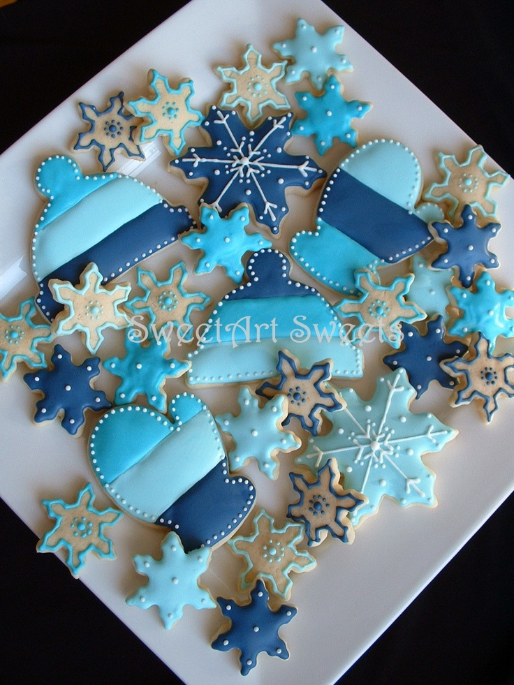 Winter Cookie Assortment 2 1/2 dozen cookies by SweetArtSweets via #TheCookieCutterCompany