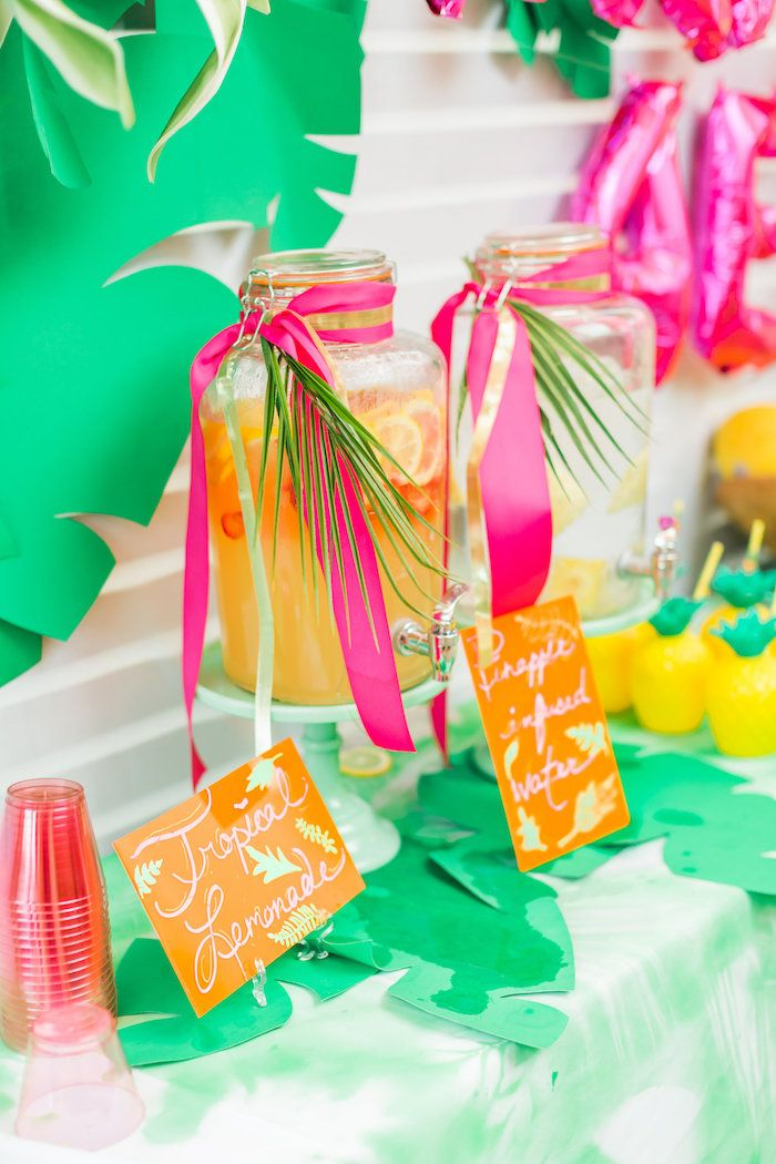 Beverage dispensers from a Tropical FOURest Birthday Party on Kara's Party Ideas | KarasPartyIdeas.com (4)