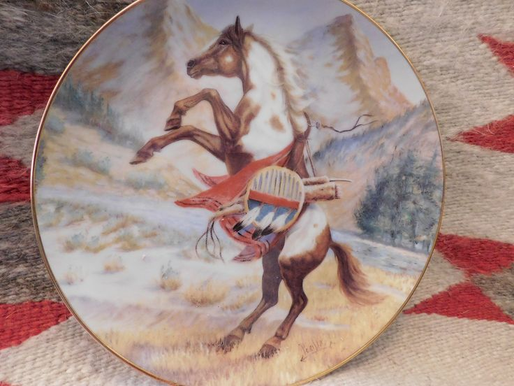 Comanche War pony,  plate   limited edition 23 Karat Gold, 27 years old,  horse, southwestern  western decor  plate   southwestern decor by LittleCherokeeValley on Etsy