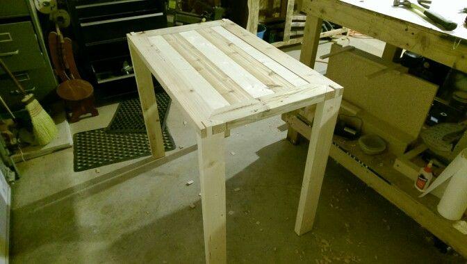Farmhouse style sofa table.