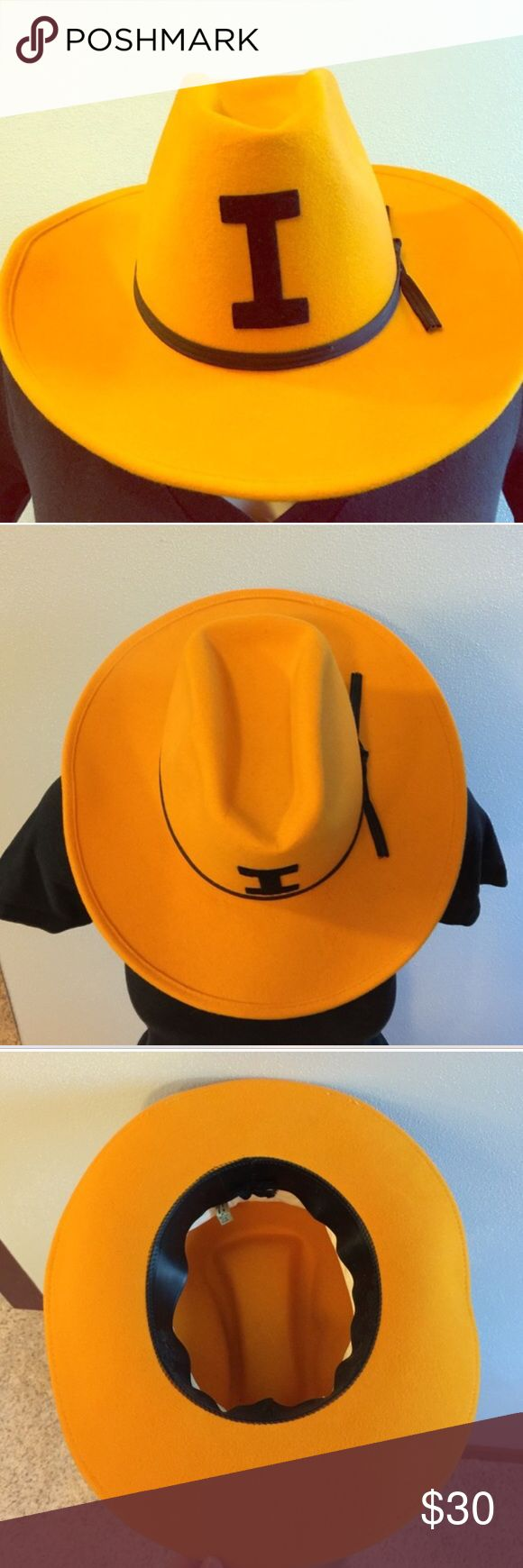 """Iowa Hawkeyes vintage cowboy hat! 💛🖤 Iowa Hawkeyes vintage cowboy hat! 💛🖤 this is a re-posh, my ex went to Iowa and we were going to a game but I didn't end up wearing it. Now I have no need for it lol 🙈 great condition and perfect for tailgating! Inside measurements are 6 3/4"""" x 8"""". Made of 100% wool! Iowa Hawkeyes Accessories Hats"""