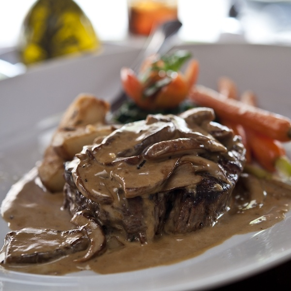Sauteed Filet Mgnon w/ Porcini Mushrooms and Gorgonzola Cream Sauce; cream, brandy, mushrooms, garlic, and gorgonzola come together in a rich sauce for steak.