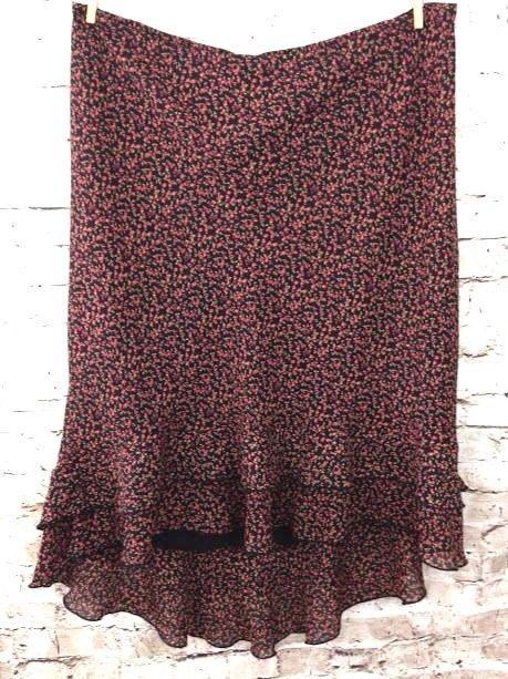 8a0e3420112 Lane Bryant Skirt Black Floral Hi-Low Plus Size 18 20 Flounce Ruffle Flowy  Poly