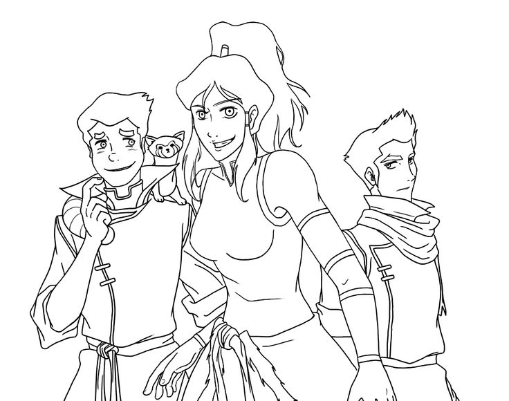 Korra and friends coloring pages for kids, printable free ...