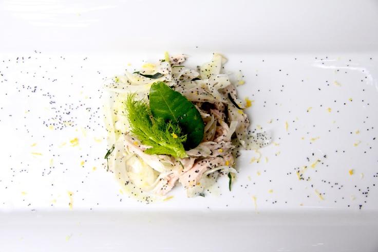 poached chicken, poppyseed, fennel, garlic and kaffir lime leaf vinaigrette
