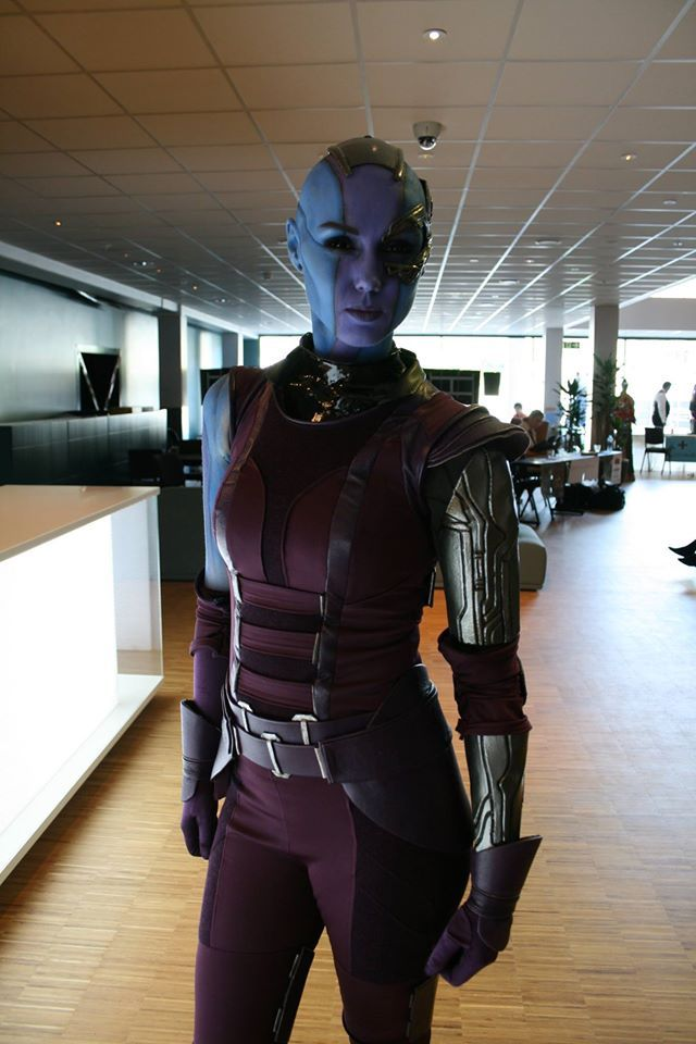 Nebula, Guardians of the Galaxy, by Karin Olava. Look at our baby, Karen. All blue and bald and off to destroy the universe...*sniff*