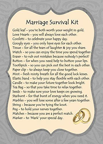 MARRIAGE SURVIVAL KIT GIFT CARD