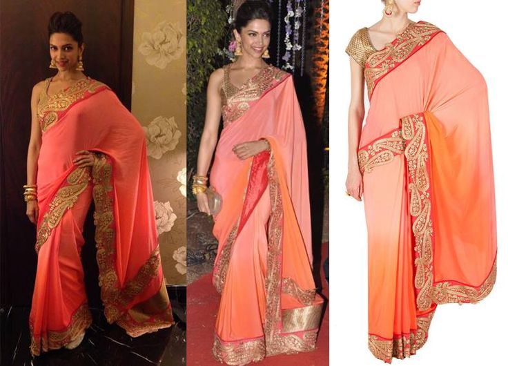 GET THIS LOOK: Deepika Padukone looks stunning in this saree by Jade by Monica and Karishma.  Shop now: http://www.perniaspopupshop.com/jade-by-monica-and-karishma-two-tone-tangerine-and-pink-embroidered-sari-jadc5m0314841.html: