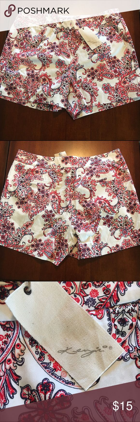 """NWT Super Cute Shorts Kenzie cotton/Elastane shorts. Off white with  red and navy paisley pattern. Inseam 4"""". Can be cuffed. Absolutely perfect! kenzie Shorts"""
