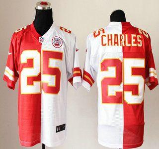 Nike Kansas City Chiefs Jersey #25 Jamaal Charles Red And White Split Elite Jerseys