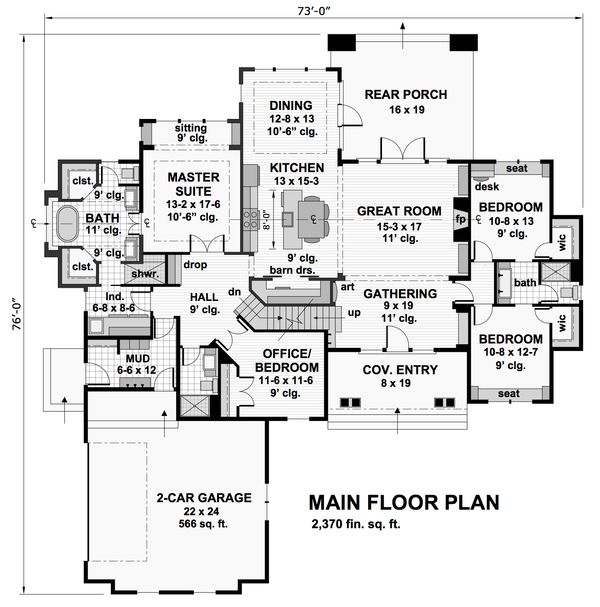 Cottage Style House Plan - 4 Beds 3 Baths 2370 Sq/Ft Plan #51-570 Floor Plan…