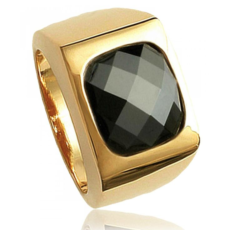 Ladies stone Raïa Noire black signet rings