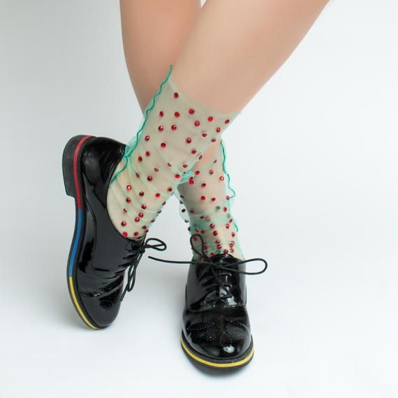 41c33a972 Red   Green Dreamy Tulle Socks for Women Fairy Kei Fashion