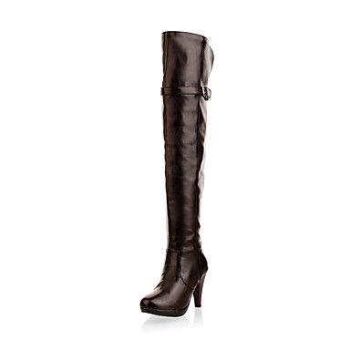 damesko stilethæl hæl over knæet støvler med spænde part / aften sko flere farver – USD $ 39.99