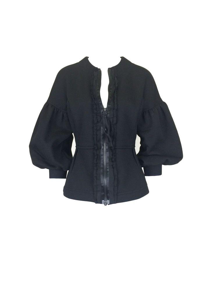 Black Puff Sleeve Fleece Cardigan by Atelieri