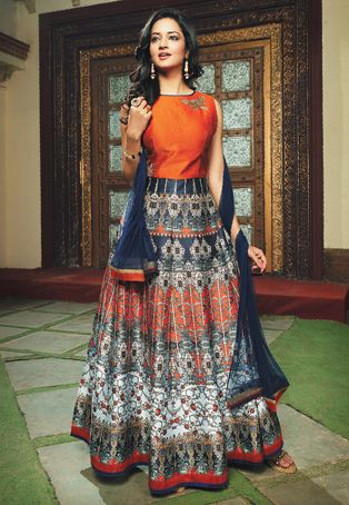 Embroidered Art Silk Abaya Style Suit in Orange and Dark Blue