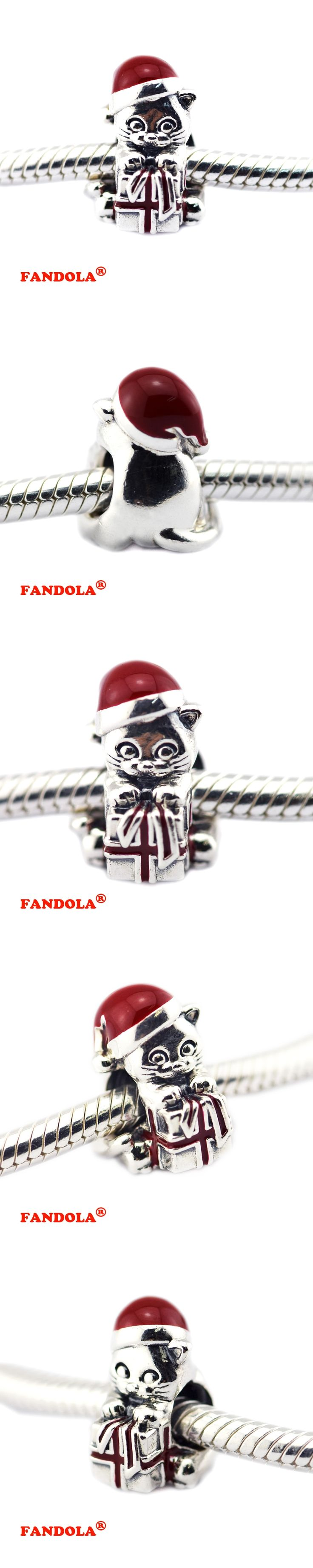 DIY Fits Pandora Charms Bracelets Christmas Kitten Beads with Berry Red Enamel 925 Sterling-Silver-Jewelry Free Shipping