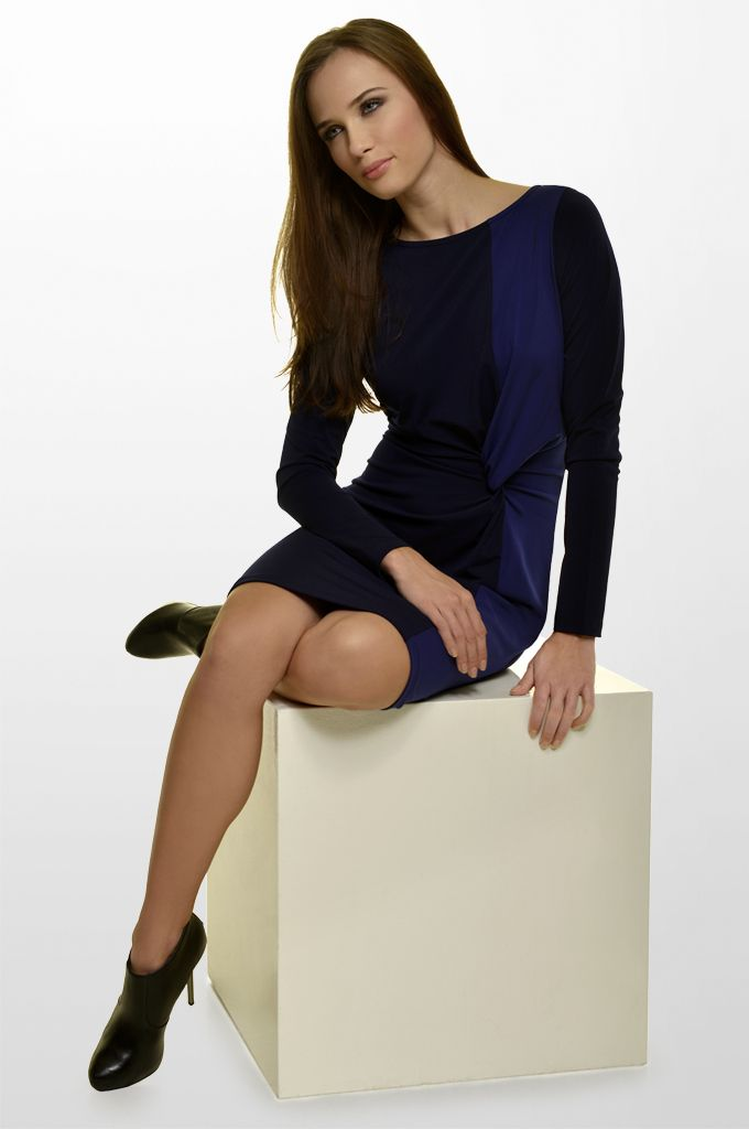 Sarah Lawrence - two colored faux tie-front jersey dress with long sleeves.