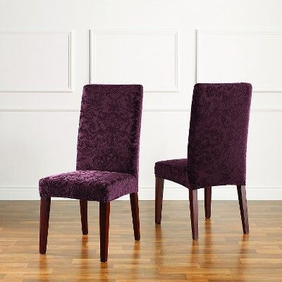 Stretch Jacquard Damask Short Dining Room Chair Cover Raisin - Sure Fit