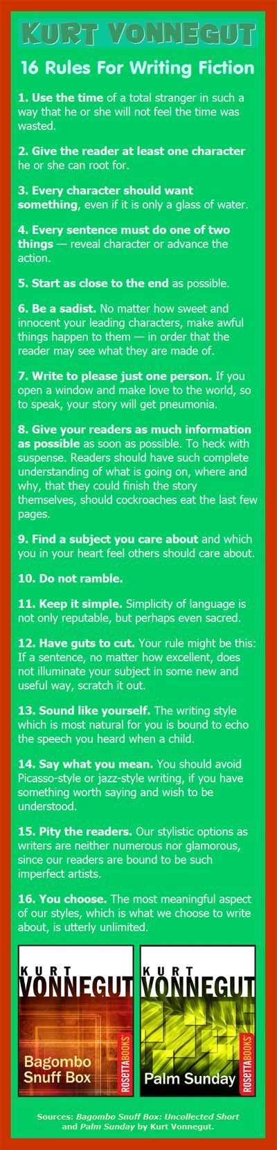Kurt Vonnegut on Writing Fiction: 16 rules ... 16. You choose. The most meaningful aspect of our styles, which is what we choose to write about, is utterly unlimited.: