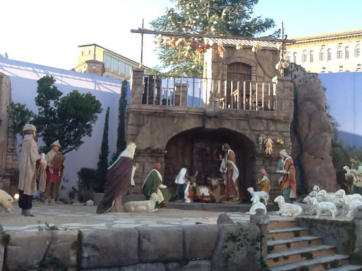 The Christmas-crib in Vatican with Christmas tree.