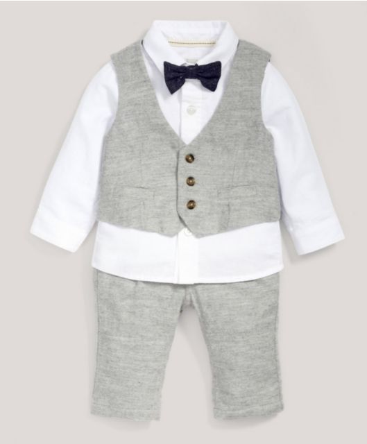 Occasion Grey Marl Waistcoat, Shirt, Bow Tie & Trousers Set