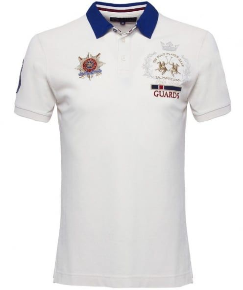 b33238bd La Martina White Contrast Collar Guards Polo Shirt available at Jules B