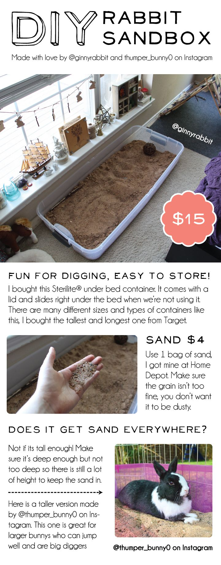 Rabbit digging box! Great for bunnies that like to dig carpet or participate in other sorts of bunstruction. Easy to store and fun for buns! DIY sandbox and rabbit toy