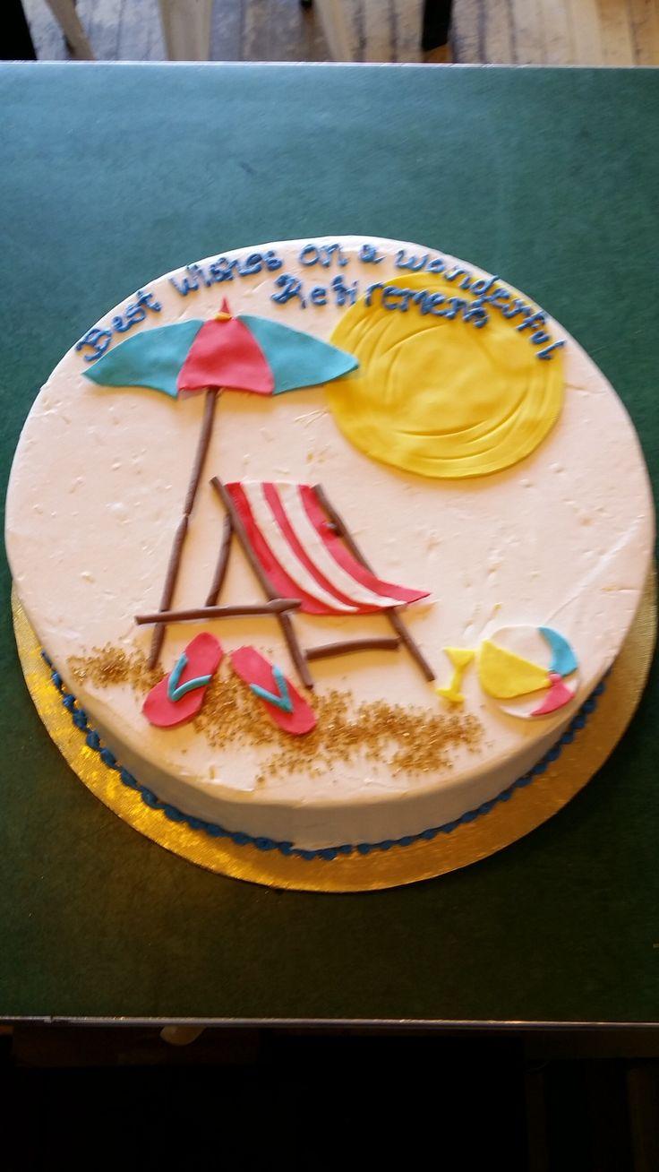 Beach themed retirement cake Fondant sun flip flops