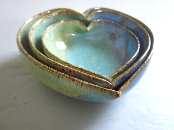 Mini Nesting ceramic heart bowls, hand thrown by JD Wolfe Pottery, Milwaukee WI - $30