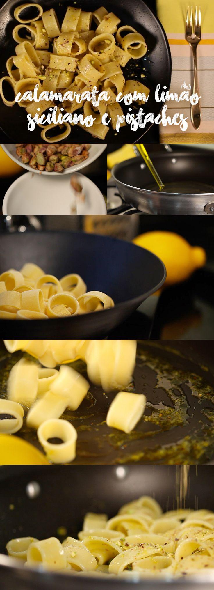 . Calamarata com limão siciliano e pistaches Receita super saborosa e que faz um sucesso! Confira essa e muitas outras receitas para surpreender os convidados em myyellowpages.com.br  LINK DA RECEITA: http://www.myyellowpages.com.br/calamarata-com-limao-siciliano-e-pistaches/