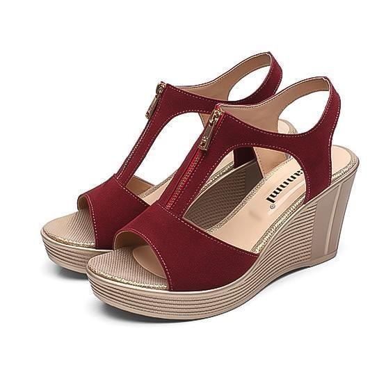 f1e22504598b LAKESHI Women Sandals Wedge Sandals Platform Zip Summer Women Shoes Black  Peep Toe Ladies Sandals 2018 Women Shoes Big Size 43  womenshoesblack