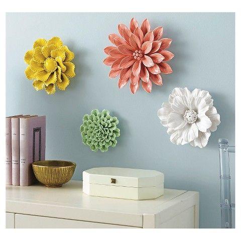 Threshold ceramic flower wall sculpture white den for Ceramic wall art