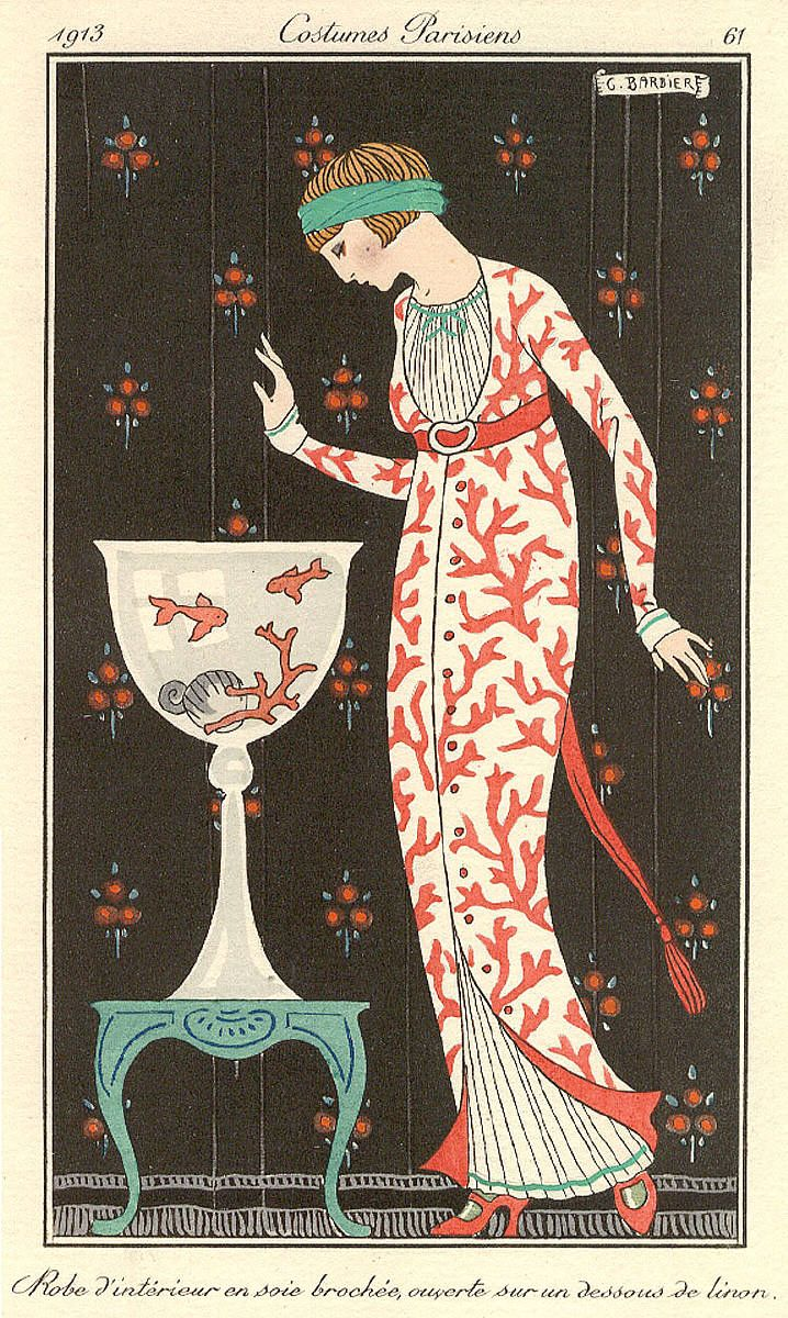 Robe d'interieur, 1913. Illustration by George Barbier in Journal des Dames et des Modes