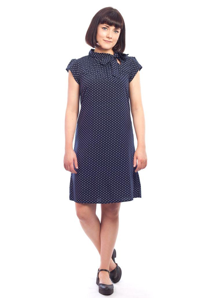 The navy polka dot Twiggy dress #1960s #60s #polka #dot #navy #vintage #style #shift #dress