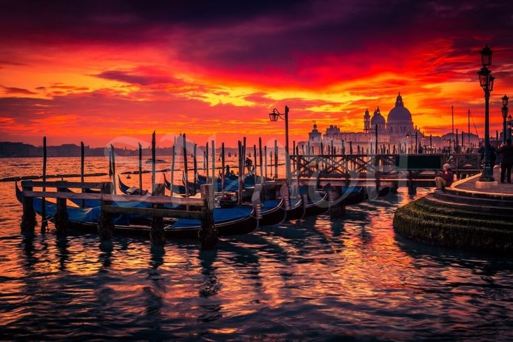 Cuadro moderno,guapo,bonito,Venecia, atardecer, góndola, foto, digital print,viaje,SP274