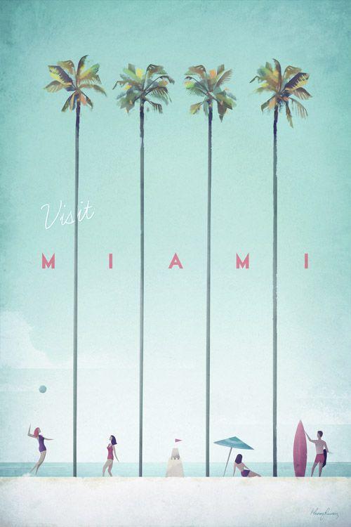 Miami Vintage Travel Poster | TRAVEL POSTER Co.