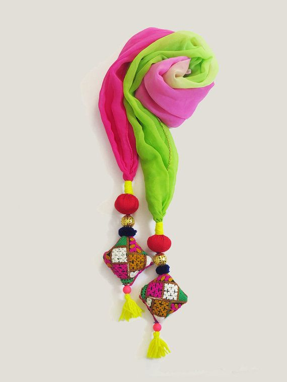 Green Pink multi colorful Handmade #Scarf #stoles #scarves #india by iThinkFashion on Etsy, $27.00