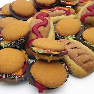 Hamburger and Hot Dog cookies