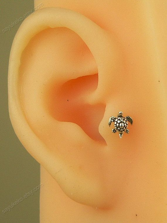sterling silver tiny turtle tragus earring tragus stud by sayukeko, $9.90