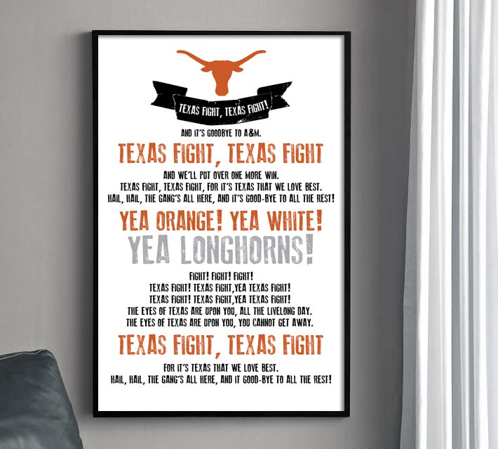 Texas Longhorns Fight Song Poster - University of Texas.